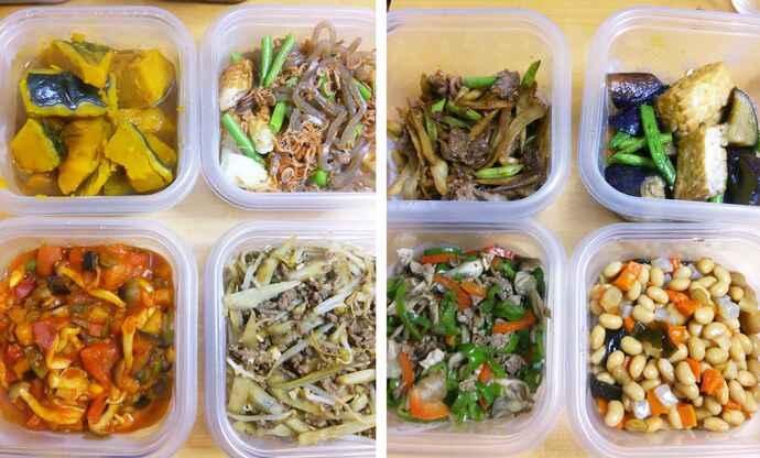 栄養フルコース型の食生活を取り入れていたころの常備菜。常に10品ほどを作りローテーションしていたが、負担も大きかった