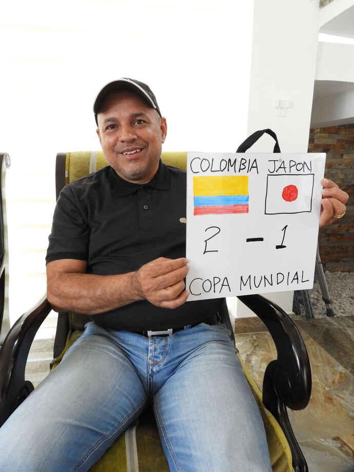 育ての親であるファンカルロスさんは日本戦のスコアを2-1でコロンビアの勝利と予想(撮影・福岡吉央)
