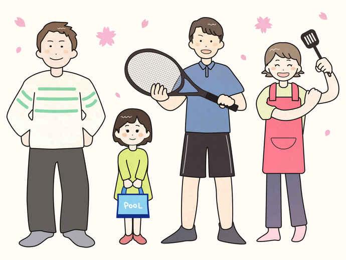 明日山家の面々。左から父キュウジさん、長女エミさん、長男ハヤタさん、母ヨウコさん