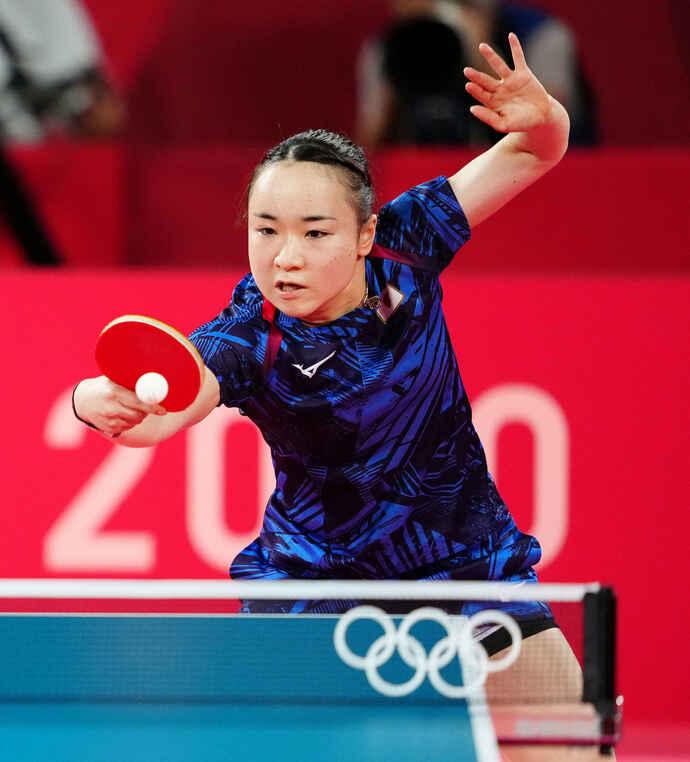 卓球混女子シングルス3位決定戦でユ・モンユに勝利した伊藤(撮影・江口和貴)